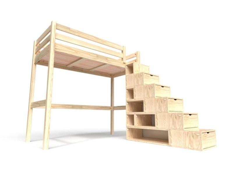 lit mezzanine sylvia avec escalier cube bois 90x200 vernis naturel
