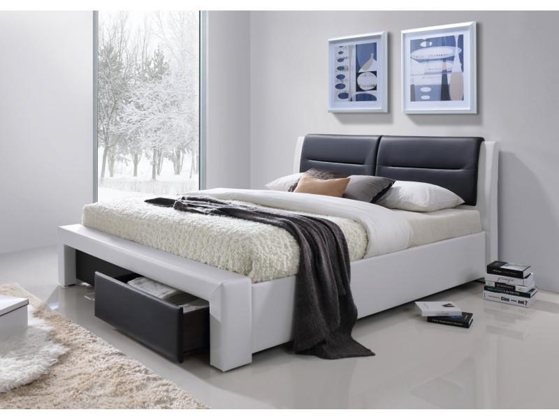 imagina lit adulte contemporain simili blanc et noir sommier inclus l 160 x l 200 cm