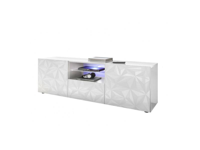 meuble tv design 181 cm laque andreasse coloris blanc