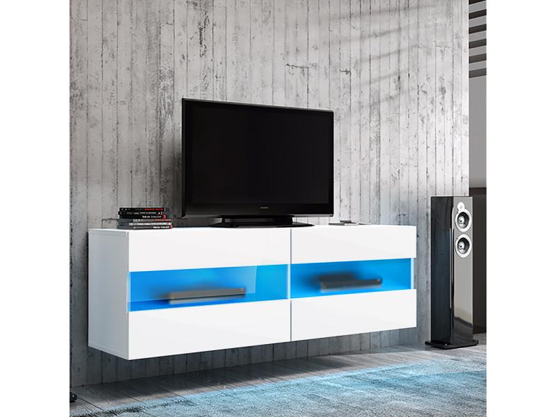 meuble tv brico 100 cm blanc mat blanc brillant avec led bleu