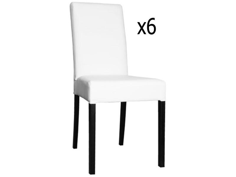 lot de 6 chaises en hetre et polyurethane de couleur blanche ht950 x ht ass500 x l490 x l440 mm pegane