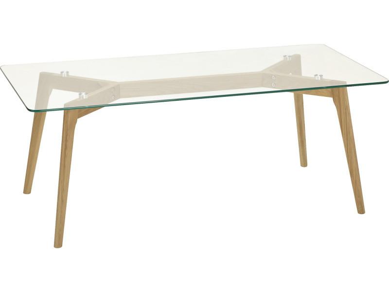 table basse scandinave en verre 60 x 120 x 46 5 cm pegane