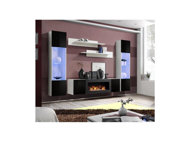 ensemble mural fly m 1 meuble tv 2 vitrines verticales led 2 etageres murales blanc et noir modele 2