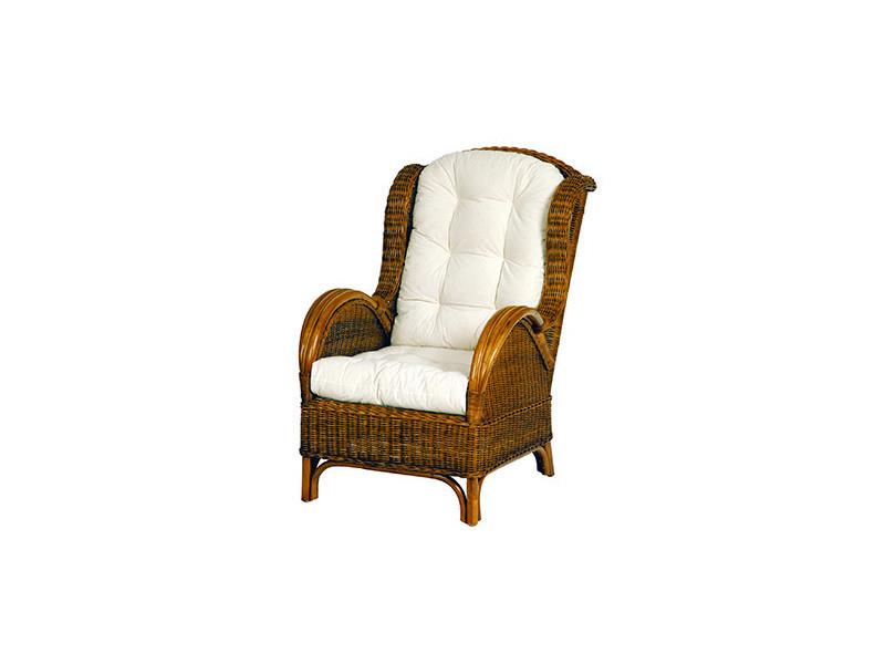 fauteuil en rotin avec coussins en