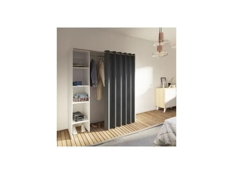 palmer dressing extensible contemporain blanc mat rideau gris anthracite l 123 160 cm