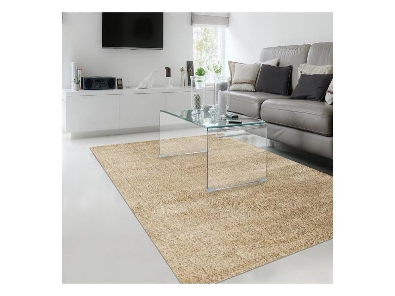 tapis shaggy poils long rectangulaire silchou beige chambre adapte au chauffage par le sol