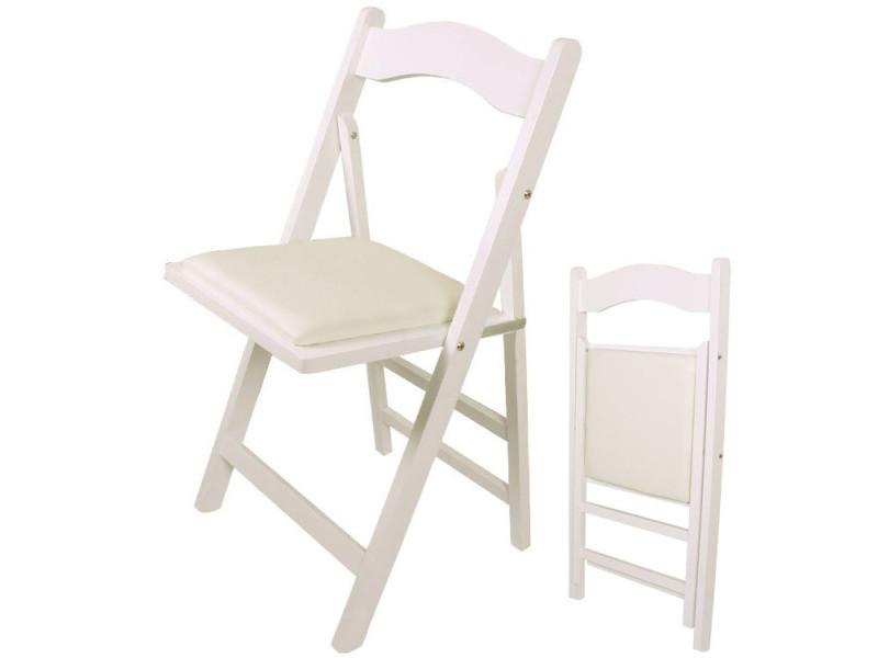chaise pliante en bois avec assise rembourree chaise pliable pour cuisine bureau etc blanc fst06 w sobuy