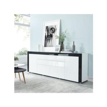 vox buffet contemporain laque blanc et noir brillant l 200 cm k95329209