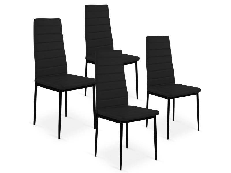 lot de 4 chaises strip noir