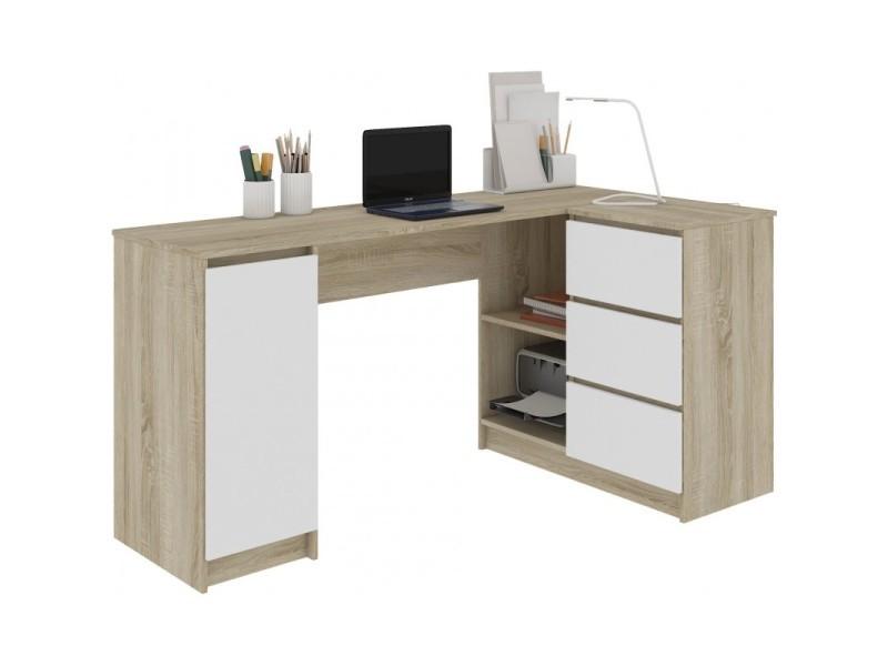 balaur bureau informatique d angle chambre bureau 155x85x77 cm 3 tiroirs grandes niches table ordinateur multi rangements sonoma blanc