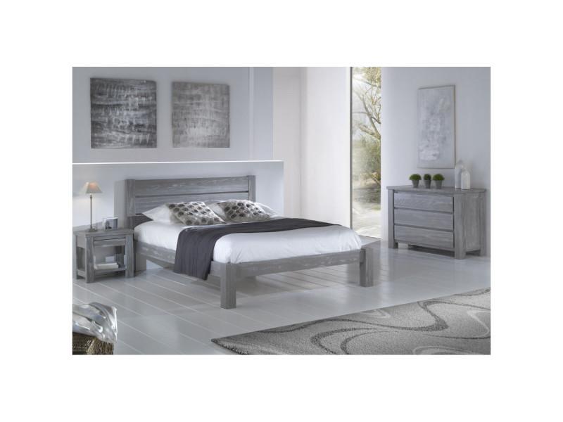 chambre complete 160 200 bois massif gris gabriel l 173 x l 214 x h 35 9 neuf