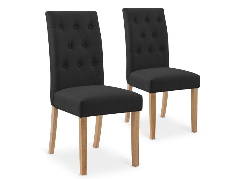 lot de 2 chaises capitonnees gaya tissu