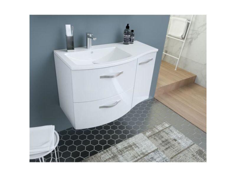 salle de bain complete onde meuble de salle de bain simple vasque l 90cm blanc brillant