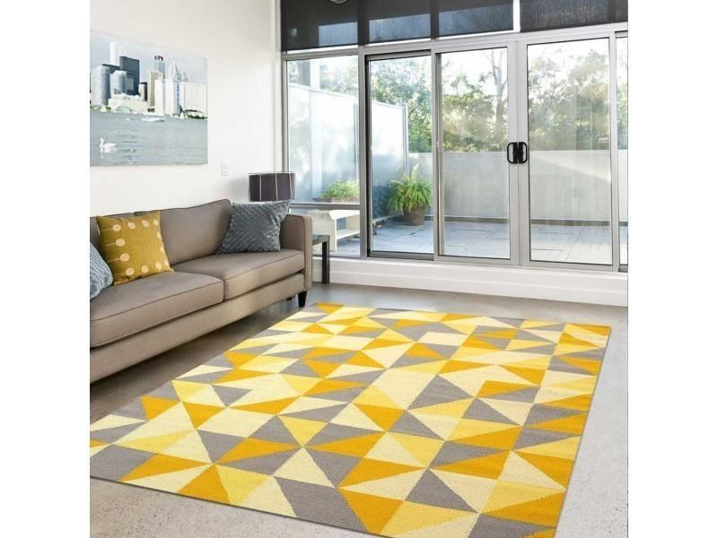 tapis grand dimensions scandivian jaune 80 x 300 cm tapis de salon moderne design par unamourdetapis