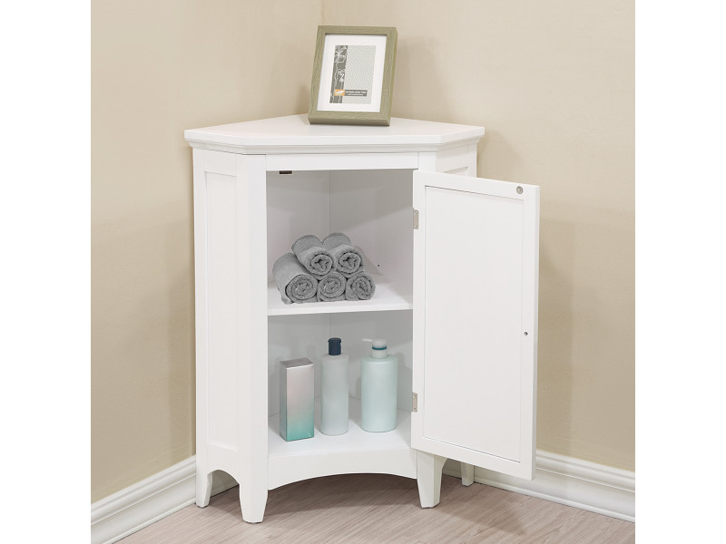 meuble d angle bas de rangement de salle de bain ethan blanc elegant home fashions elg 586