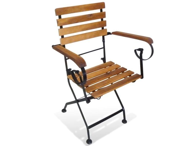icaverne chaises d exterieur serie chaise de jardin pliante avec accoudoirs 2 pcs bois d acacia