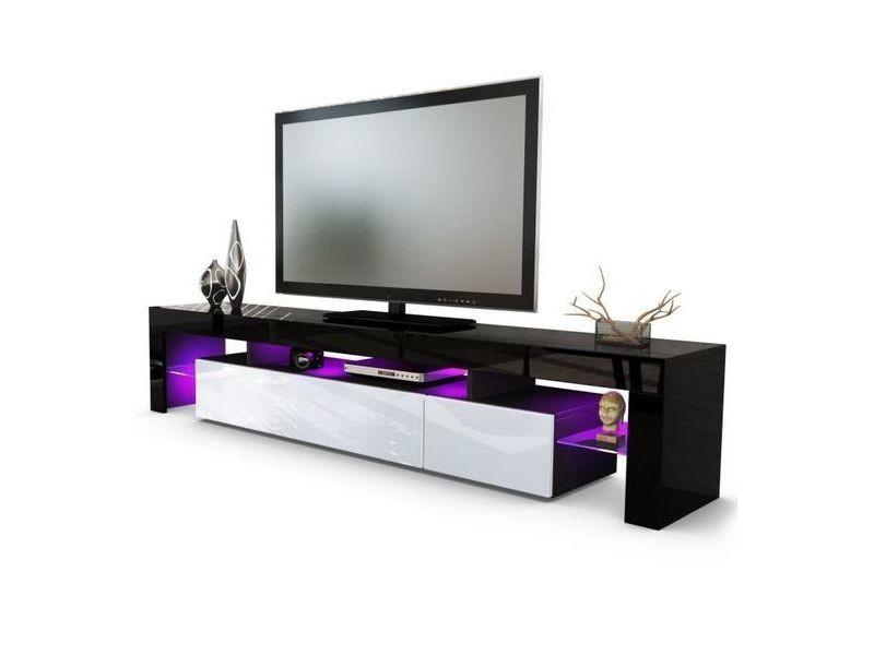meuble tv noir et blanc 189 cm avec led