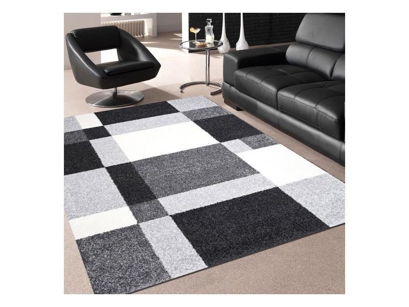 tapis design et moderne 200x290 cm rectangulaire bokoda gris salle a manger adapte au chauffage par le sol