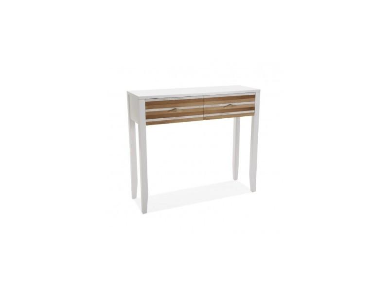 console entree bois clair et blanc zen