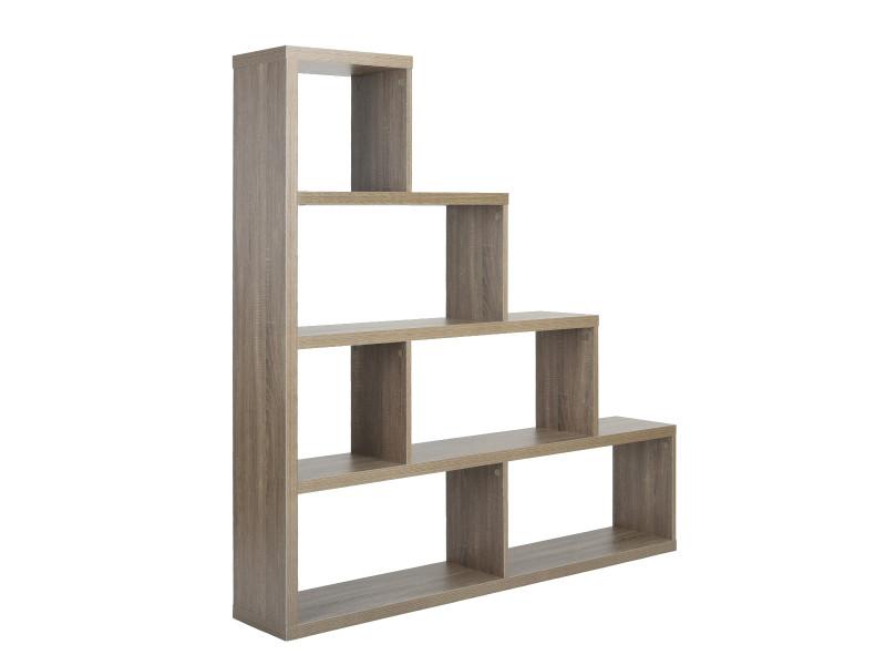 etagere escalier bibliotheque panneau bois chene gris