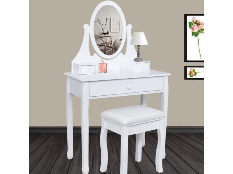 Coiffeuse Table De Maquillage En Bois Avec Miroir Et