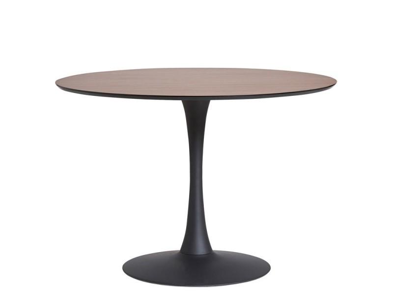 table de repas ronde noyer noir pied central still l 110 x l 110 x h 75 neuf
