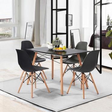 4 chaises scandinave bois noir