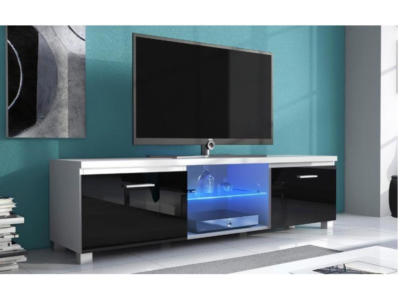meuble bas tv led sejour blanc mate et noir laque dim 150 x 40 x 42cm