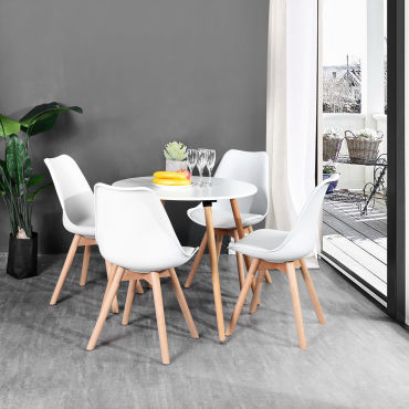 table a manger ronde blanche 4 places