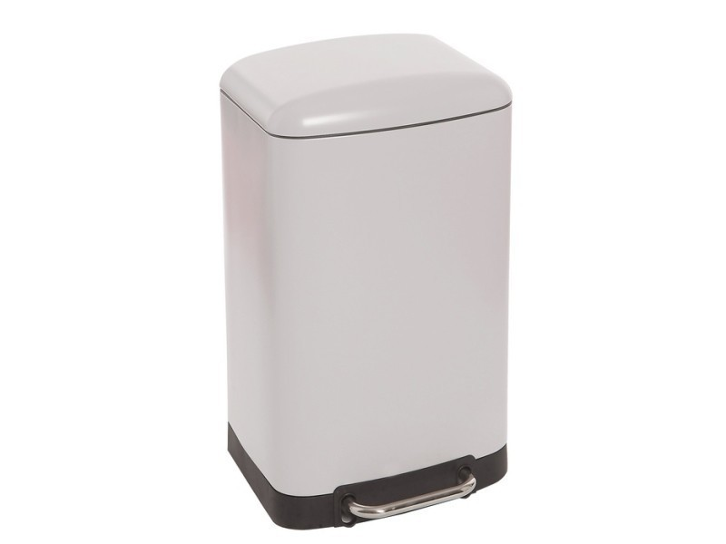 poubelle de cuisine contemporain poubelle rectangulaire a pedale 30 litres blanc mat