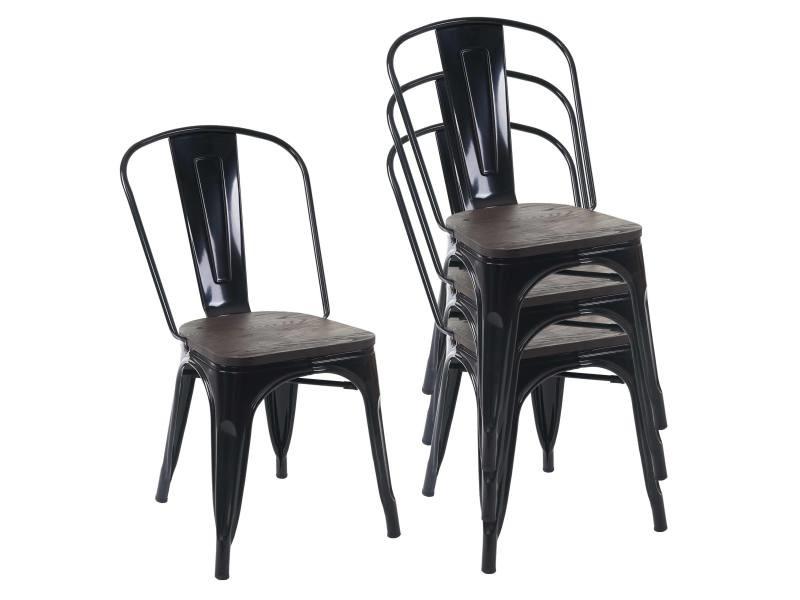 4x chaise de bistro hwc a73 avec siege en bois chaise empilable metal design industriel noir