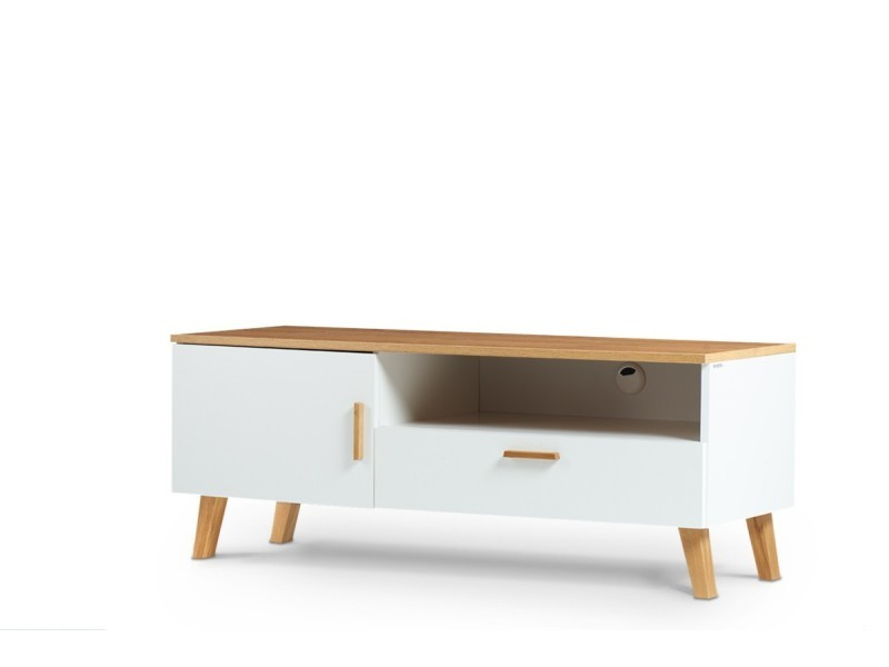 frili meuble tv style scandinave salon sejour 125 5x48 5x46 cm pieds en bois massif 1 tiroir 2 niches de rangement blanc chene
