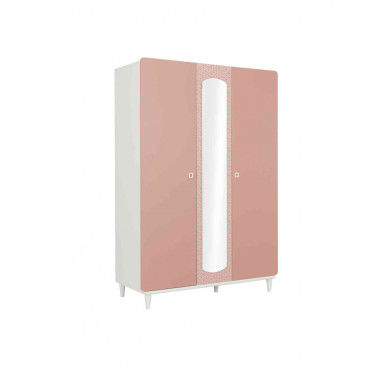 armoire enfant 3 portes en bois rose