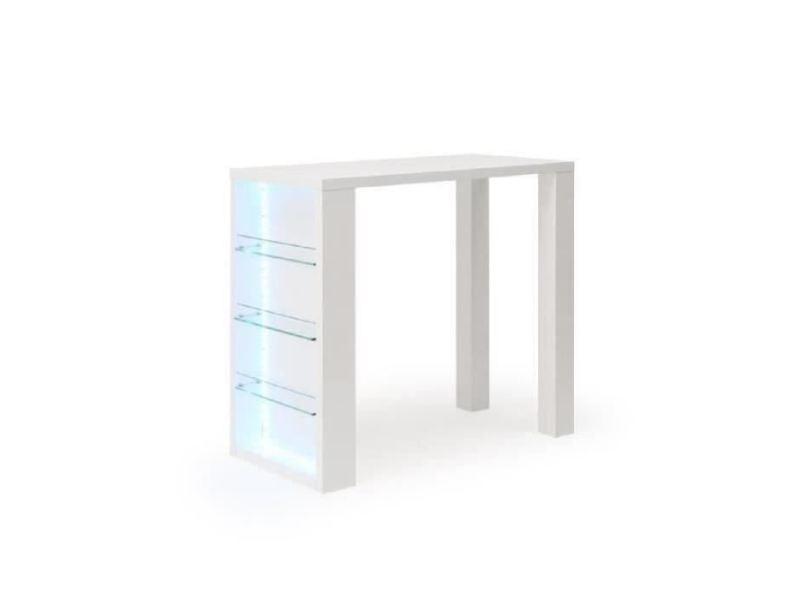 mange debout table de bar table haute flash table bar avec led de 4 a 6 personnes style contemporain blanc laque brillant l 120 x l 60 cm