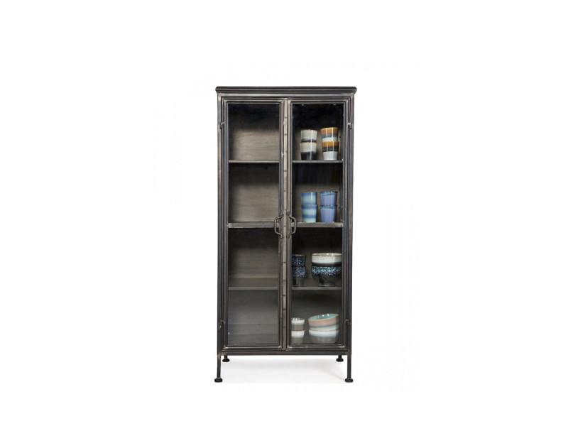 puristic bibliotheque vintage en metal et portes en verre couleur noir