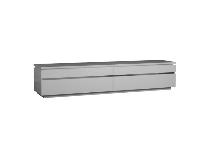 meuble tv laque blanche 2 portes abattantes carmen l 220 x l 50 x h 45 neuf