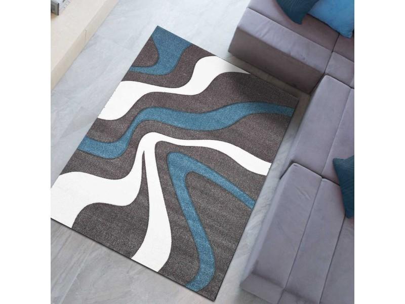 tapis comtemporain doux et de qualite todila bleu blanc gris 80 x 150 cm