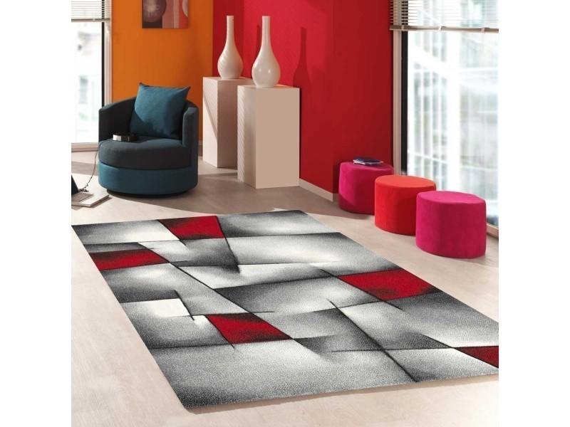 tapis salon moderne de createur parlak 3d rouge noir blanc gris 60 x 110 cm