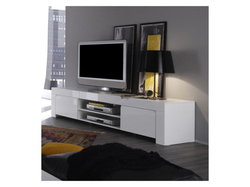 meuble tv design laque blanc twist coloris dimensions l 190 cm