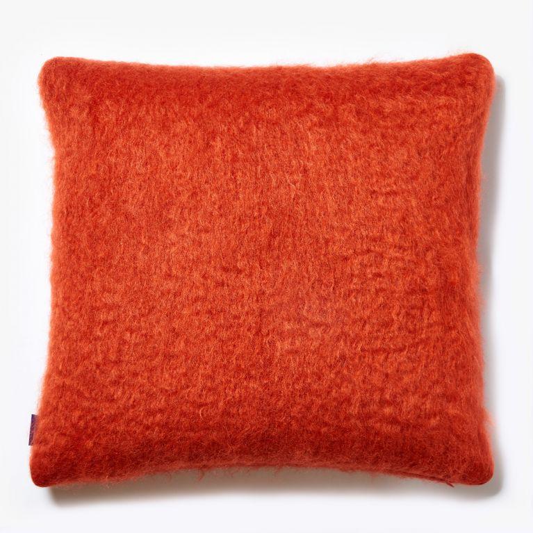 mohair cushion cover in orange 50cm x 50cm