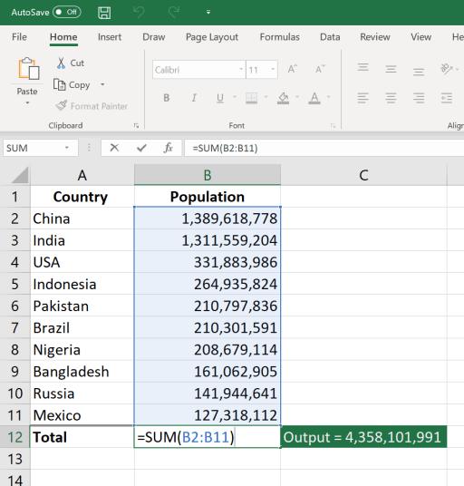 Basic Excel Formulas for Beginners SUM Function