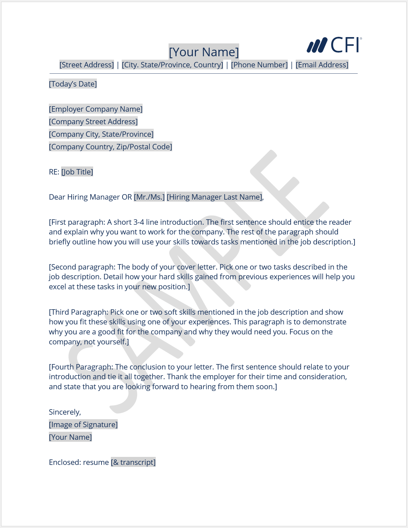 Cover Letter Of A Company
