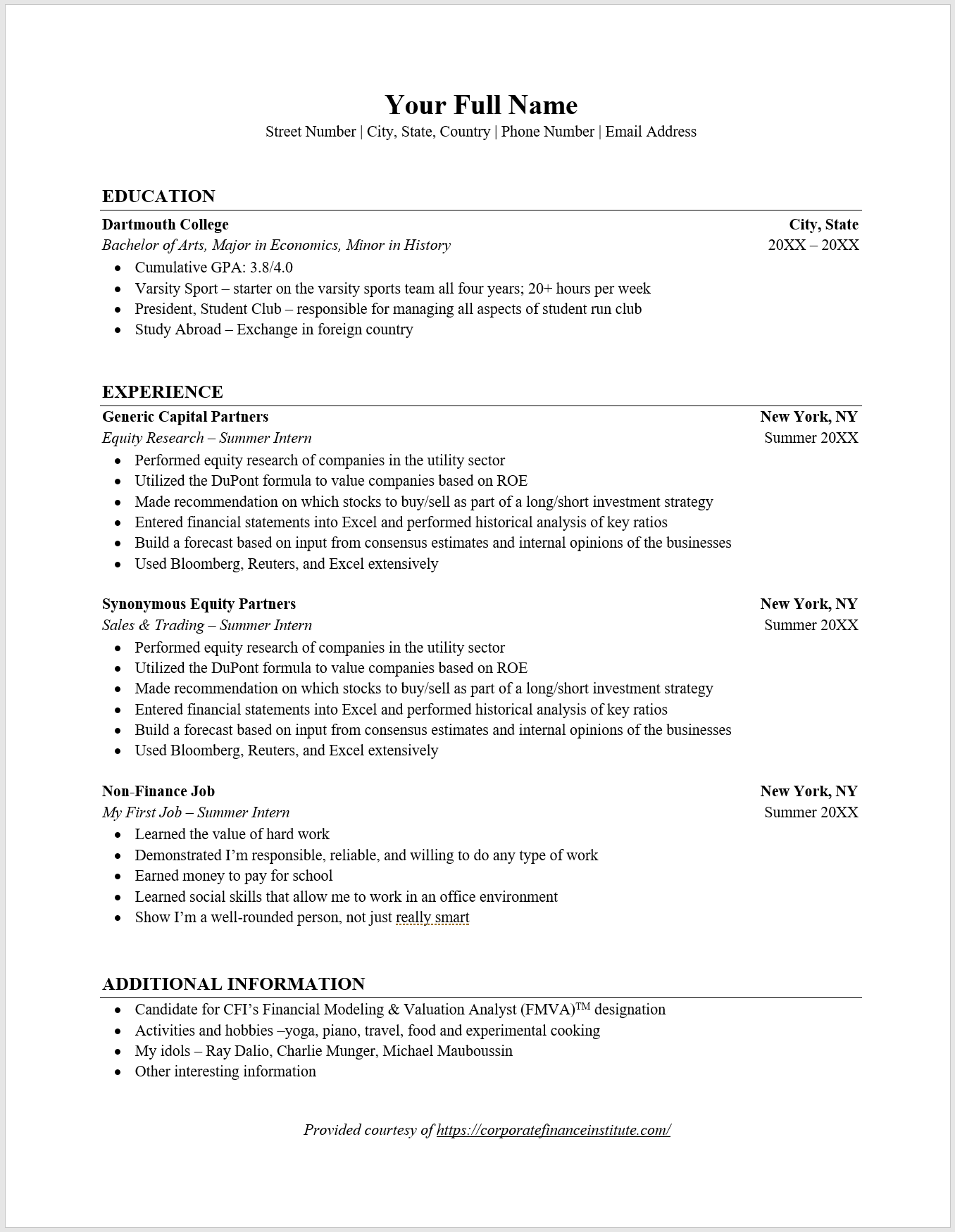 investment banking resume font size