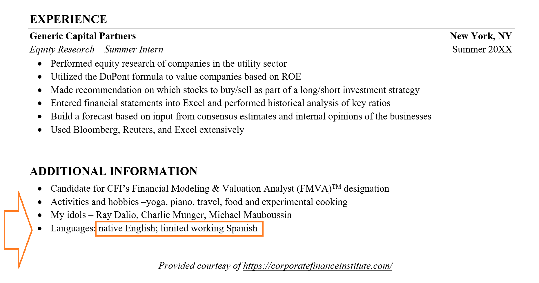 sample resume foreign language proficiency