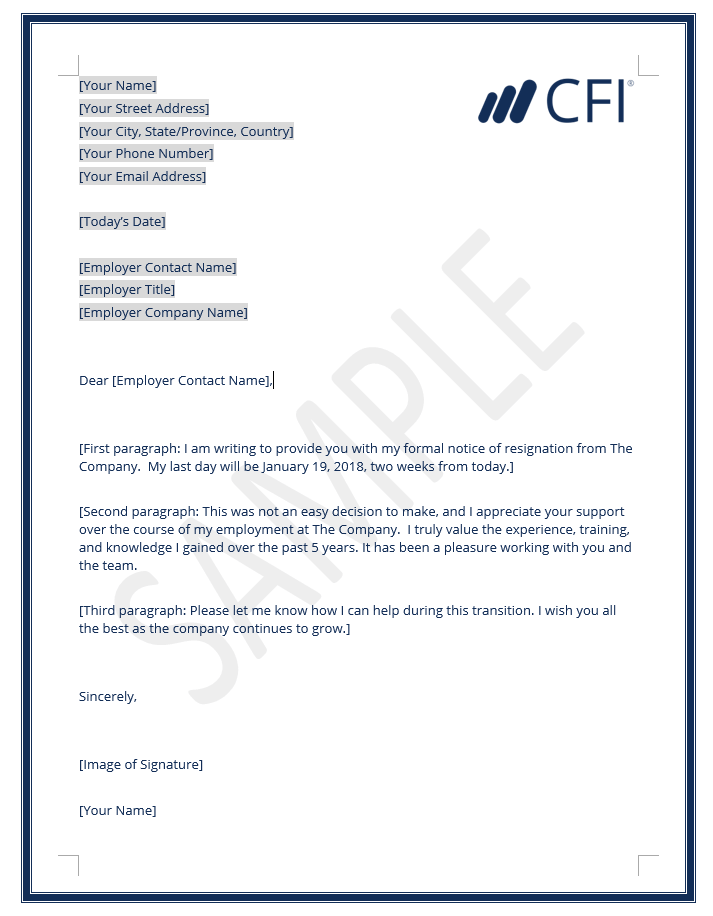 Resignation Letter  How to Write a Letter of Resignation Template