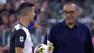 Sarri, occhiolino a Cristiano Ronaldo: che intesa!