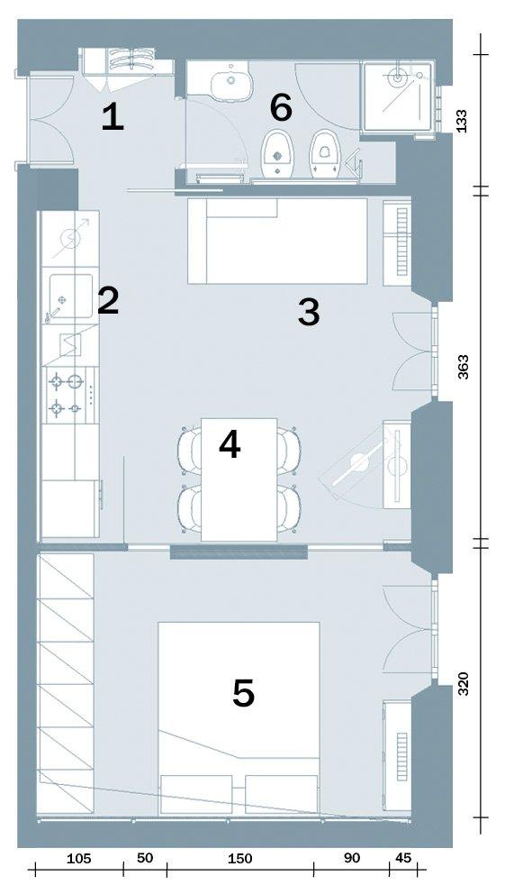In 35 mq 6 zone comode e funzionali  Cose di Casa