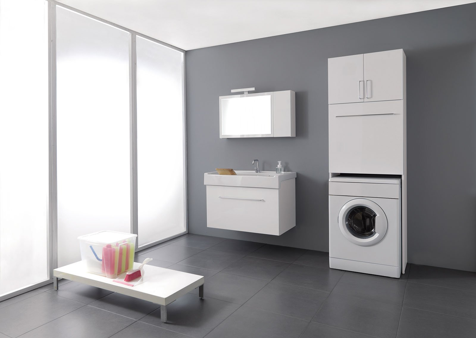 La lavanderia uno spazio per nascondere lavatrice e