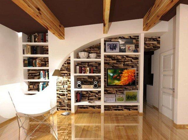 Come attrezzare una parete irregolare con libreria e tv  Cose di Casa