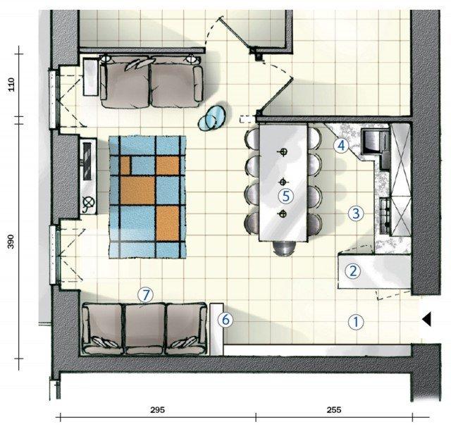 In cucina definire le funzioni con le penisole Progetto in pianta per 25 mq  Cose di Casa